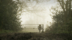 Single woman walking towards camera in fog - dolly slow motion Stock Footage