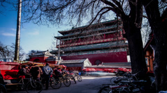 Lots of pedicab drivers wait for guest near Drum Tower - stock footage