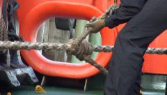 Marines tying ropes. Hesperides, research vessel. Stock Footage