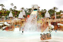 Tenerife island, spain - may 22: the kids playing in water attractions in sia Stock Photos