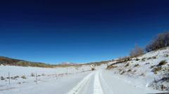 POV vehicle road drive sandstone blue sky extreme terrain Zion Utah - stock footage