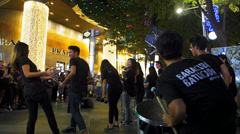 Asia Singapore Orchard Road Christmas street music performance - stock footage