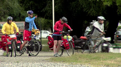 Cyclists in Punta Arenas Stock Footage
