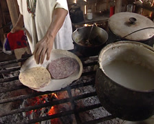 Lacandon woman making traditional maya corn tortillas. Stock Footage