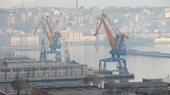 Trieste port crane Stock Footage