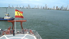 Hesperides, Spain flag in Colombia. Cartagena Harbor Stock Footage