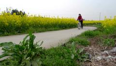 Young lady rides a bike through the yellow rape flower field along a small road Stock Footage
