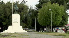 Punta Arenas General Manuel Bulnes sculpture Stock Footage