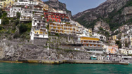 Stock Video Footage of Sailing along Amalfi coast to Positano.