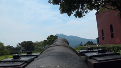 Cannons from Santo Domingo castle in Danshui Stock Footage