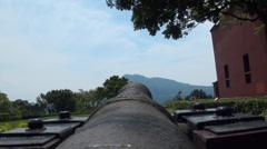 Cannons from Santo Domingo castle in Danshui Stock Footage