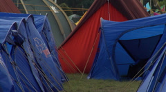 Blue shelter tents in the camp Stock Footage