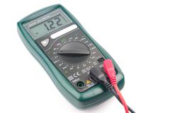 Digital multimeter isolated on white background Stock Photos