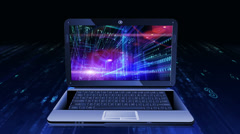 Abstract technological background on screen of laptop. Stock Footage