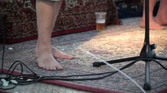 Barefeet musician in 1080p Stock Footage