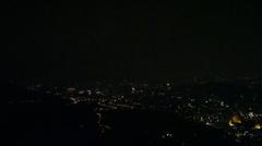 Night view pan  of Taipei 101 from Mao Kong Stock Footage