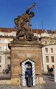 soldier of elite prague castle guard - stock photo