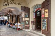 Stock Photo of prague shops and restaurants situated in historic center little quarter with