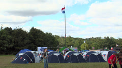 Nederlands contingent in jamboree camp Stock Footage