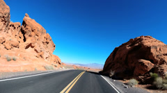 POV Valley of Fire Road drive rock desert winter Interstate 15 State Park Nevada Stock Footage
