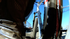 Time lapse pedal power cycle riding people Golden Gate Bridge San Francisco USA Stock Footage