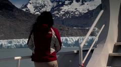 Tourists visiting the Perito Moreno glacier Stock Footage