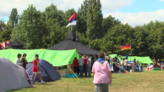 Serbia and germany flag in the camp Stock Footage