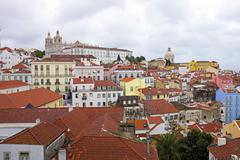 lisbon houses and harbor in portugal - stock photo