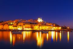 Ferragudo at night - a typical city of algarve portugal Stock Photos