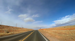 POV driving sandstone Buttes desert Colorado Plateau Monument Valley USA - stock footage