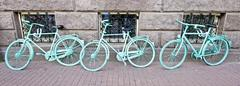 Stock Photo of three green bicycles against a wall in amsterdam netherlands