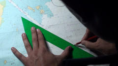 Marines tracing a route with charts in the Hesperides, A-33 - stock footage