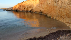 Cove With Sea Waves Going In And Out - stock footage