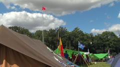 Tents and flags in the jamboree camp Stock Footage