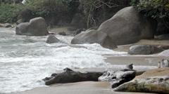 Waves Crashing onto a Beach Stock Footage