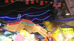 Night market scene with tilt Stock Footage