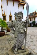 old chinese statue in the buddhist tample thailand - stock photo
