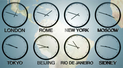 24h World time zone: Time in 8 capitals, earth spinning in the BG. Loopable Stock Footage