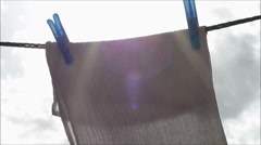 Windy washing on a line in spring Stock Footage