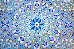 oriental mosaic at the mosque hassan ii in casablanca, morocco - stock photo