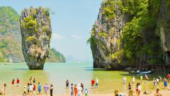 Phang nga, thailand - 24 feb 2014: james bond island (ko tapu). many tourists Stock Footage
