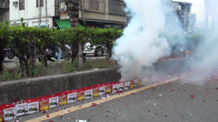 Firecrackers during the procession of the God Matsu Stock Footage