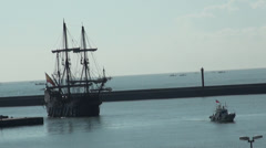 Galleon Andalucia sailing to Keelung in Taiwan Stock Footage