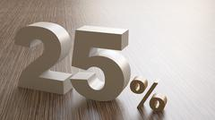3d render of 25 percent on wooden block - stock illustration