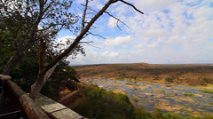 olifant camp with a great view of the river on a nice day - stock footage