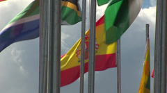 Spanish flag with other flags Stock Footage