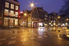 Stock Photo of streetview in amsterdam the netherlands by night
