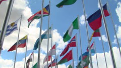 Flags of the world in the jamboree Stock Footage