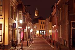 City scenic from utrecht in the netherlands with the dom tower Stock Photos