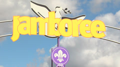 Jamboree entrance and scout logo Stock Footage
